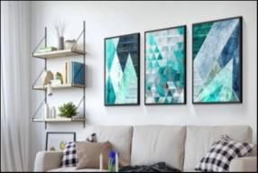 Poster arte geométrico azul turquesa