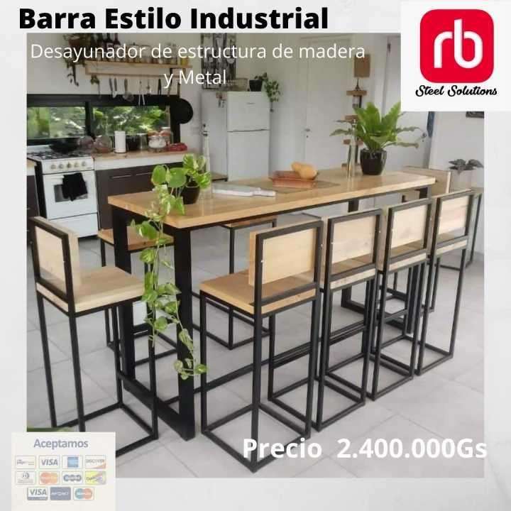 Barra estilo industrial desayunador - 0