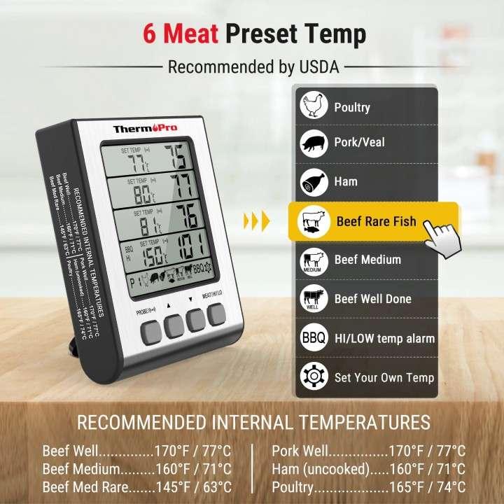 ThermoPro TP17H Termómetro digital de cocina 4 sondas - 6