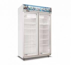 Exhibidora Frider vertical 2 puertas equipada con combistato 870 litros
