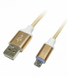 Cable usb am/ micro usb 1m c/led aluminio kcc-1381 (10193)