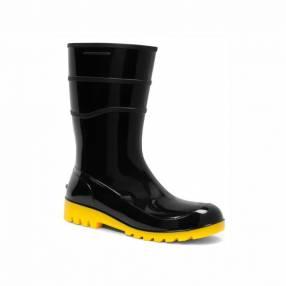 Bota impermeable de PVC negro amarillo