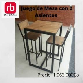 Juego de mesa con 2 sillas