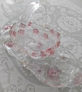 Juego de bandeja y canasta floral alemán Toskana