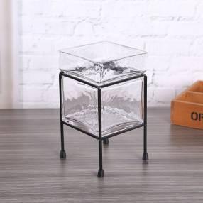 Maceta de cristal con pedestal 12x23cm