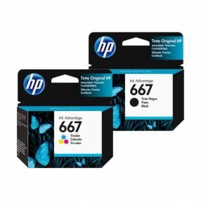 Cartuchos HP 667 negro y 667 tricolor