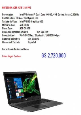 Notebook Acer 34-C992