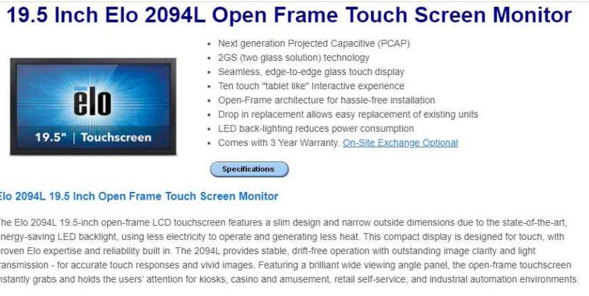 Monitor Touch Screen. ''Elo Touch'' - 1