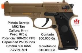 Pistola Beretta M92 eléctrica marrón claro