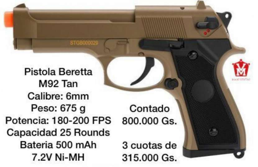 Pistola Beretta M92 eléctrica marrón claro - 0