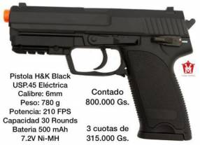 Pistola H&K airsoft black eléctrica