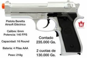 Pistola Beretta airsoft gris claro eléctrica