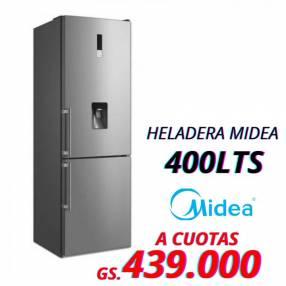 Heladera Midea de 400 lts 2 puertas frío seco inox