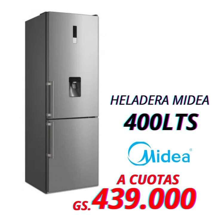 Heladera Midea de 400 lts 2 puertas frío seco inox - 0
