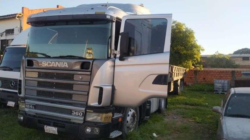 Tractocamión Scania 124 360 con carreta porta conteiner 2017 - 3
