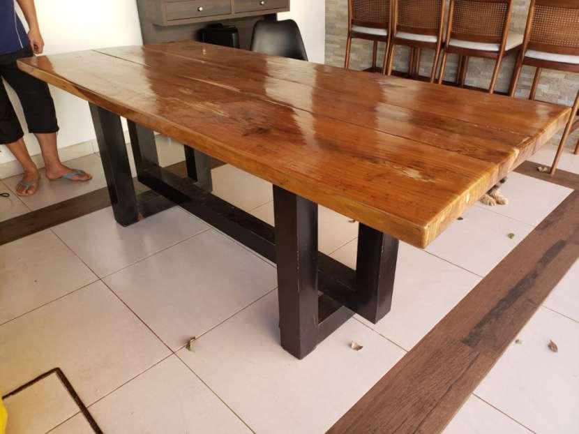 Mesa de lapacho y hierro para quincho - 1