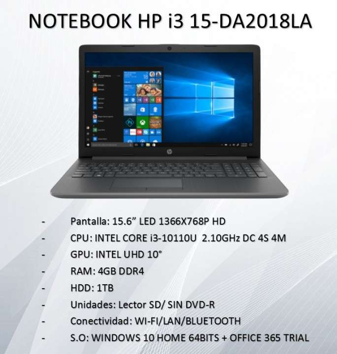 Notebook i3 15-DA2018LA - 0