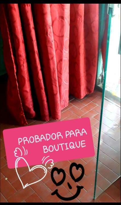 Soporte de hierro + cortina para probador de boutique - 1