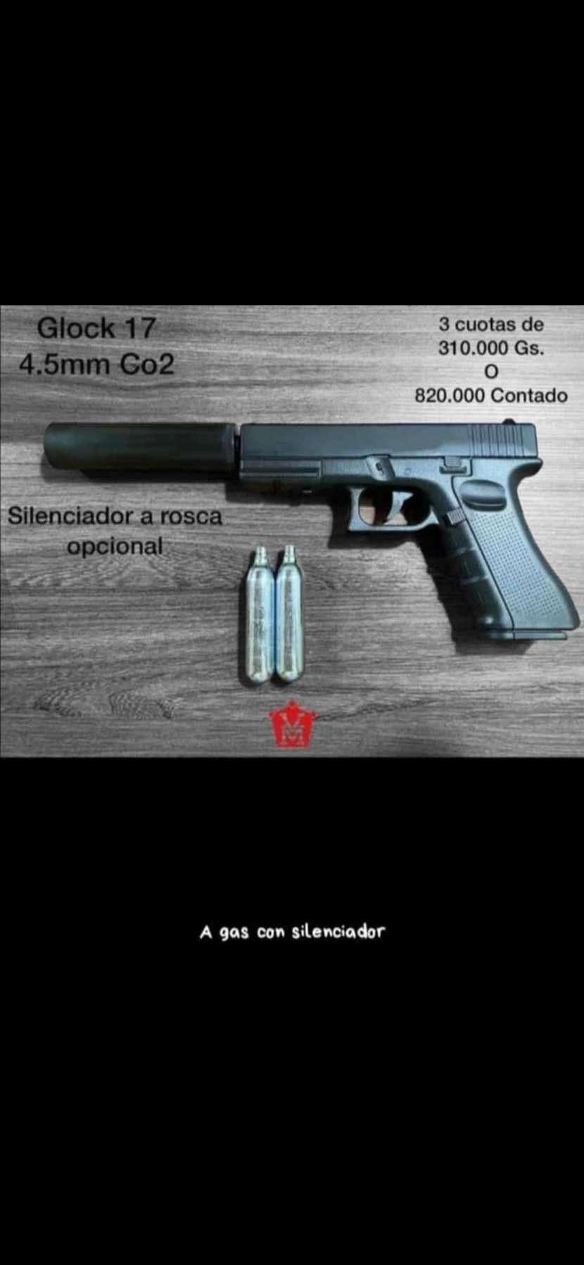 Pistola Glock 17 con silenciador - 0