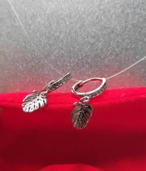 Aro argollita con hojas de plata 925