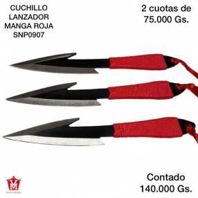 Cuchillo lanzador manga roja