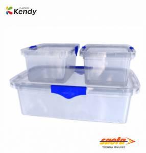 Caja Kendyware rectangular alto set por 3 con tapa