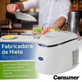 Fabricadora de hielo portatil de 2 kilos consumer