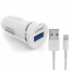 Cargador para auto ldnio fast charger 2.1 + cable lightning dl-c12
