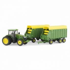 Tractor John Deere 7290R con vagón de forraje escala1:64 - L
