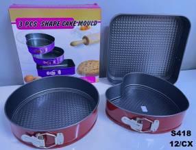 Molde para torta 3 piezas teflonados