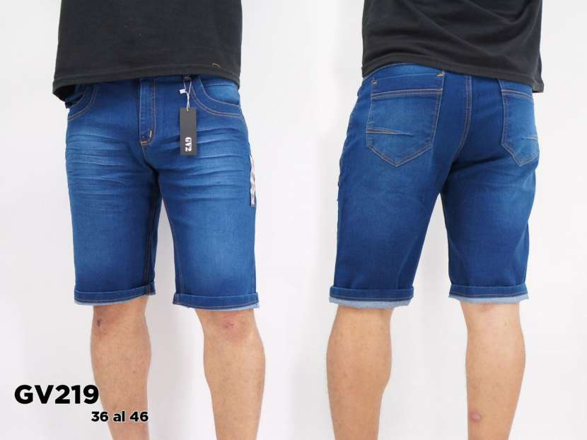 Bermuda de jeans elastizado para caballero - 0