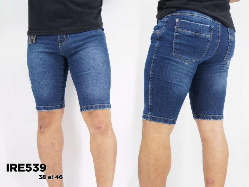 Bermuda de jeans semi elastizado para caballero IRE539 - 0