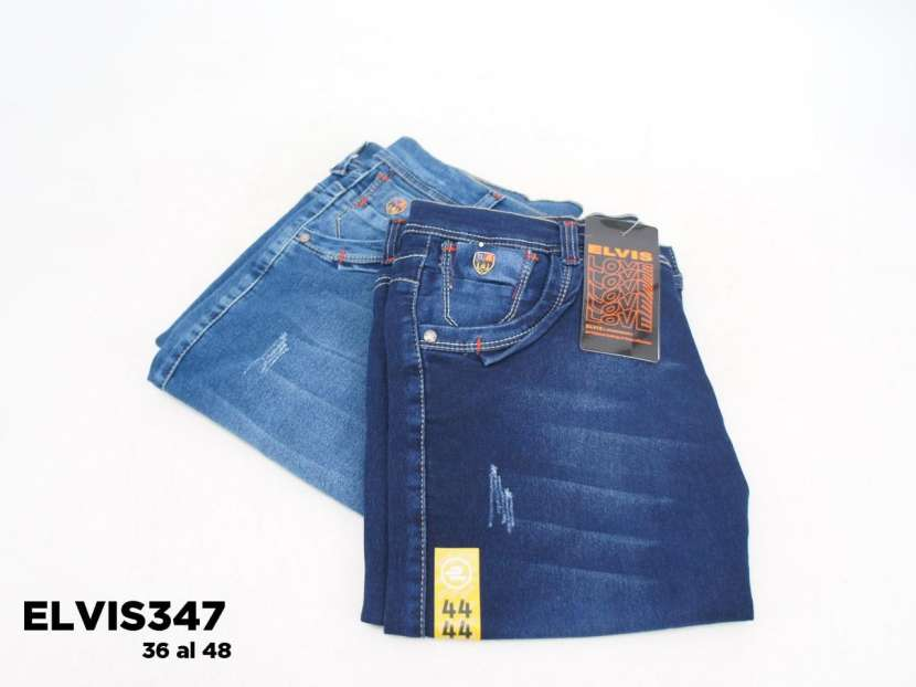 Bermuda de jeans prelavado elastizado para caballero - 1