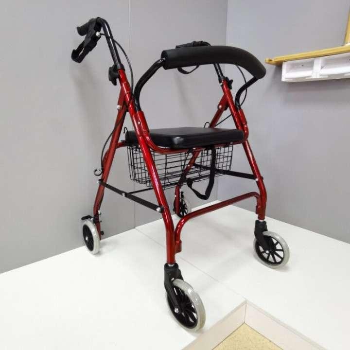 Andador con ruedas frenos y canasto - 0