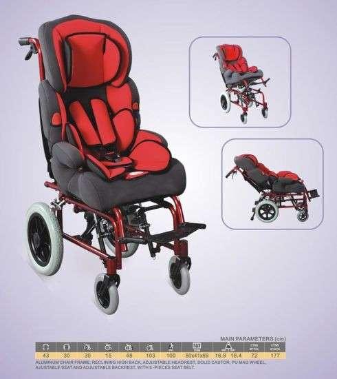 Silla de ruedas pediátrica cómoda plegable - 0