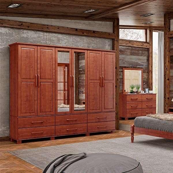 Ropero 6 puertas de madera oro Finiestra - 0