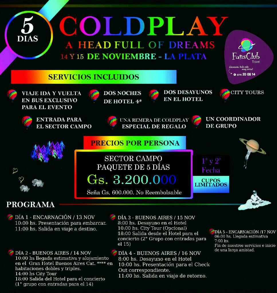 Pasaje para el concierto de Coldplay