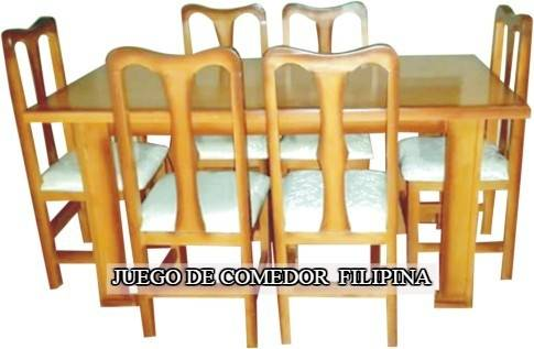 Juego de Comedor de 6 Filipina con tapizado