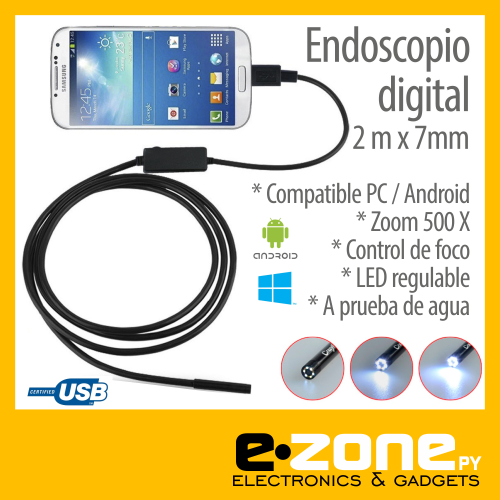 Endoscopio digital. Mini camara USB celular
