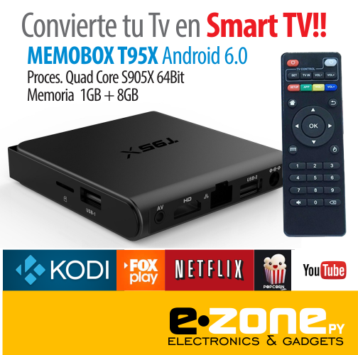 Smart Tv Android T95X Android 6.0 soporta 4K 1 gb + 8 gb